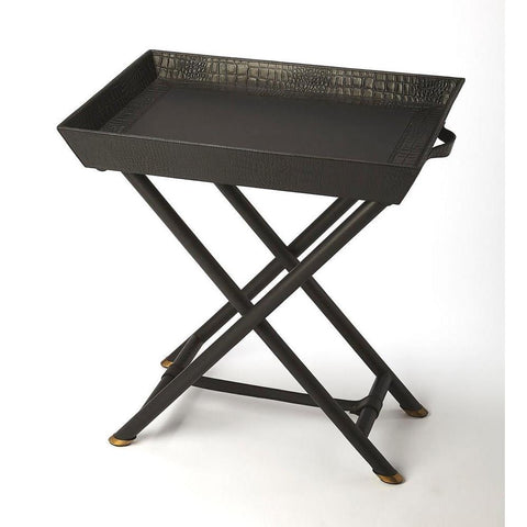 Butler Bronco Black Leather Folding Tray Table