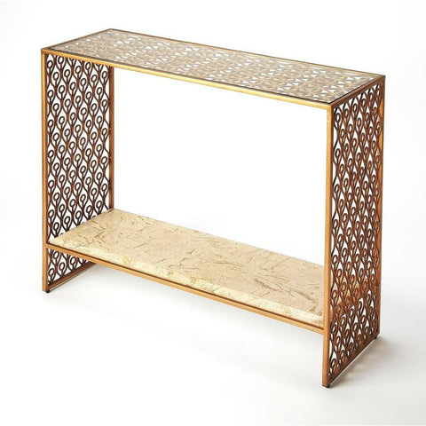 Butler Cambria Fossil Stone & Metal Console Table