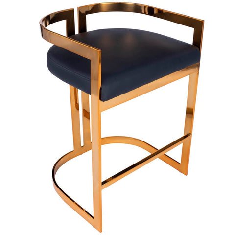 Butler Clarence Gold & Black Faux Leather Counter Stool