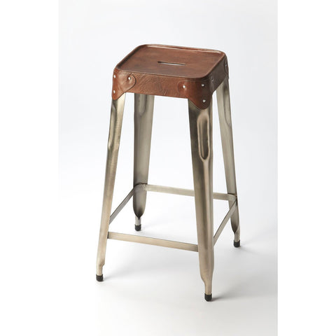 Butler Connor Iron & Leather Barstool