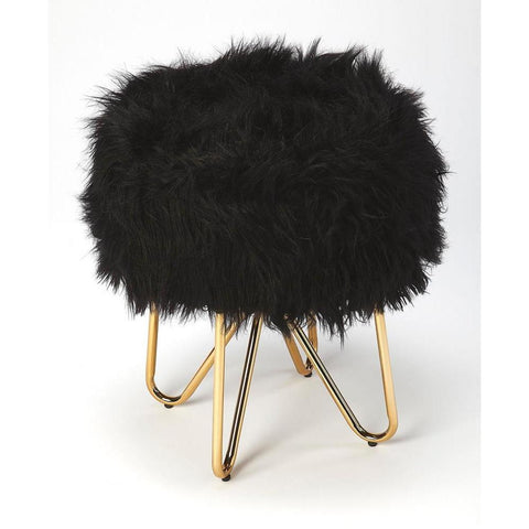 Butler Ezra Black Faux Fur Stool