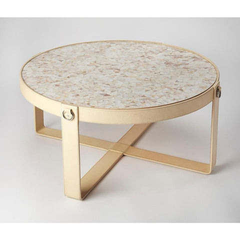Butler Greer Leather & Mother Of Pearl Coffee Table