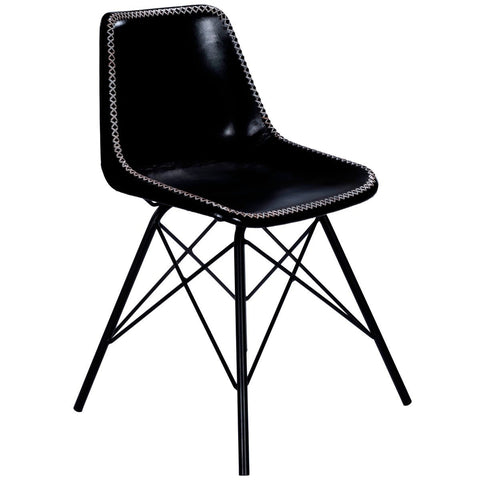Butler Inland Black Leather Side Chair