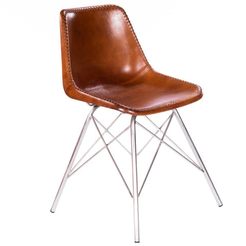 Butler Inland Light Brown Leather Side Chair
