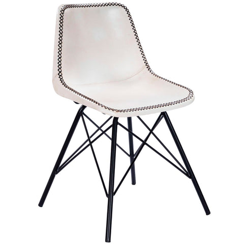 Butler Inland White & Black Leather Side Chair