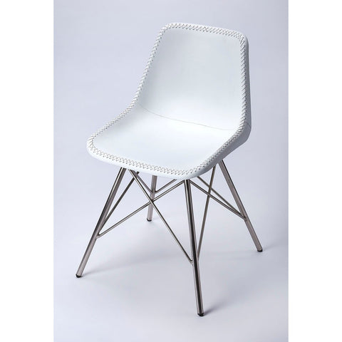Butler Inland White Leather Side Chair