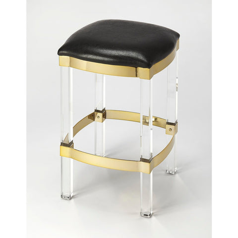 Butler Jordan Acrylic & Black Leather Counter Stool