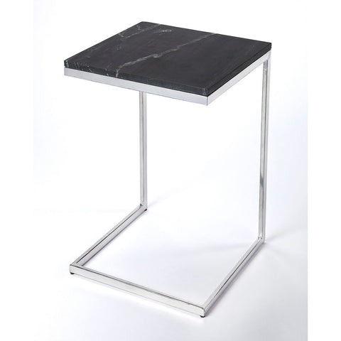Butler Lawler Nickel Metal & Black Marble End Table
