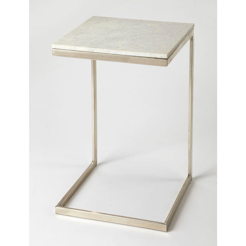 Butler Lawler Nickel Metal & Marble End Table