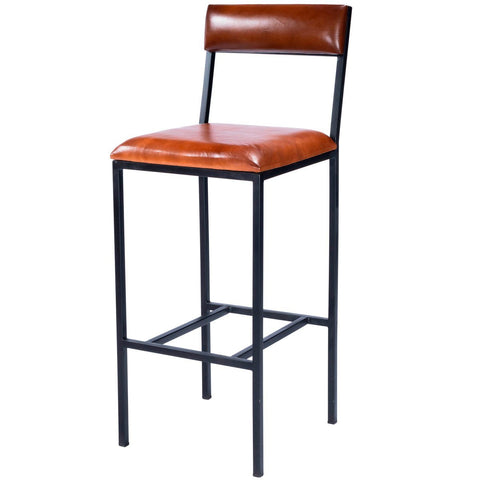 Butler Lazarus Leather & Metal Bar Stool