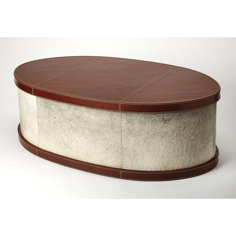 Butler Leandro Hair-On-Hide Leather Oval Coffee Table