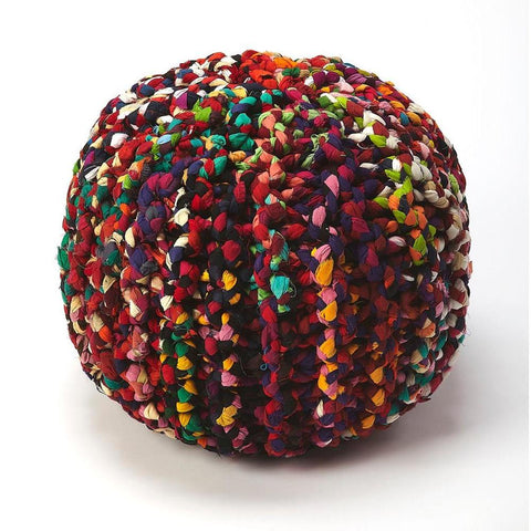 Butler Lulu Multicolor Braided Pouffe