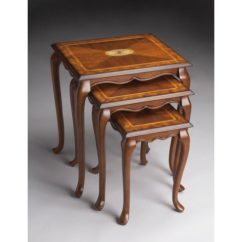 Butler Masterpiece Nest Of Tables In Olive Ash Burl 2306101