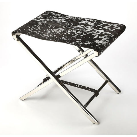 Butler Matteo Black/Silver Hide & Metal Folding Stool