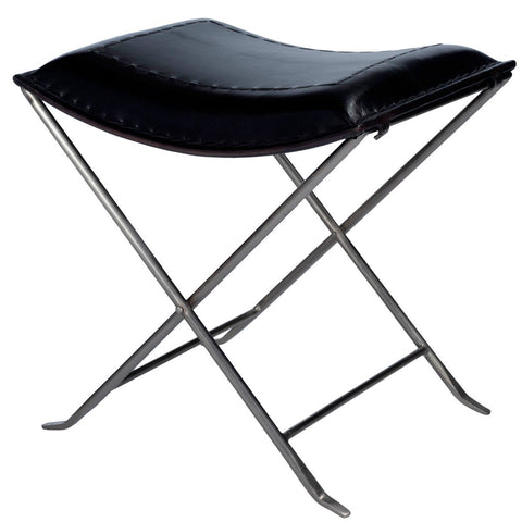 Butler Melton Black Leather Stool