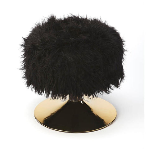 Butler Nona Black Faux Fur Stool