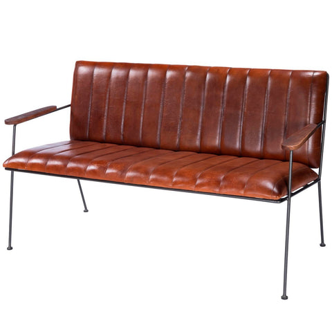 Butler Phoenix Leather & Metal Bench