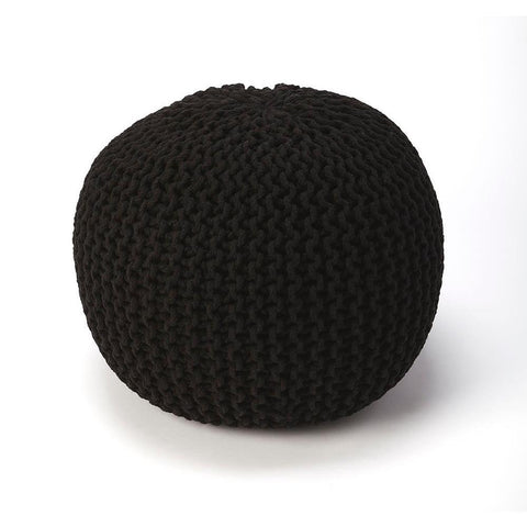Butler Pincushion Black Woven Pouffe