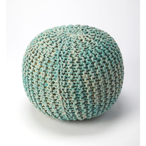Butler Pincushion Green Woven Pouffe