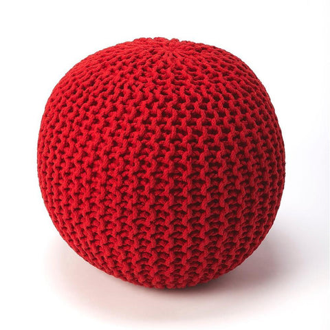 Butler Pincushion Red Woven Pouffe