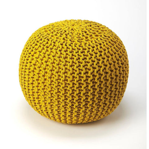 Butler Pincushion Yellow Woven Pouffe