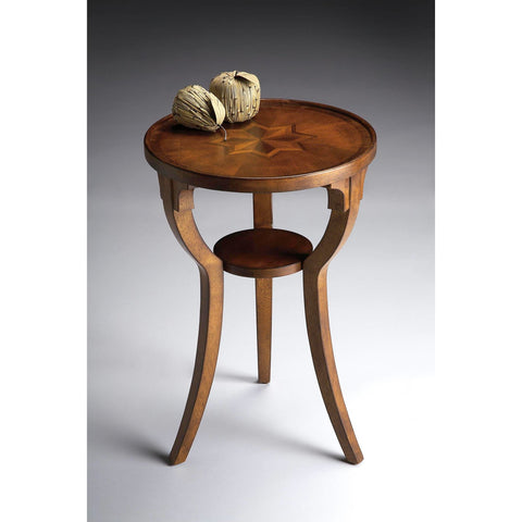 Butler Plantation Cherry Round Accent Table In Olive Ash Burl