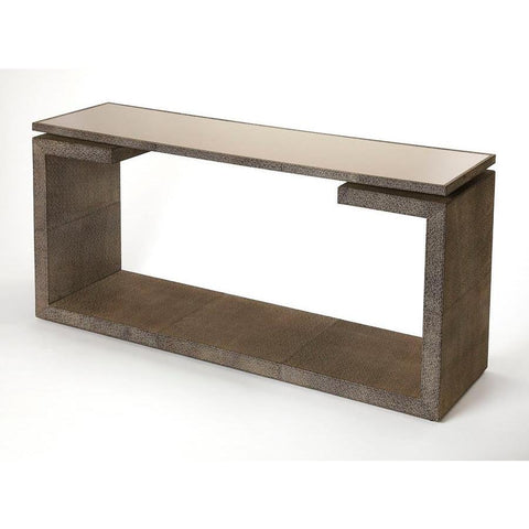 Butler Pruitt Brown Leather Console Table