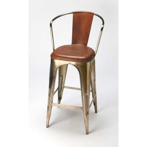 Butler Roland Iron & Leather Barstool