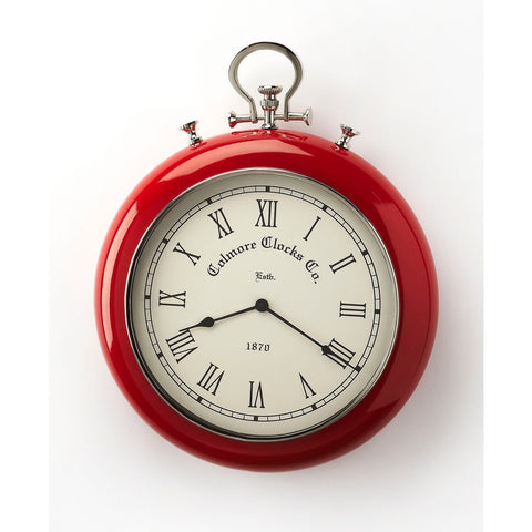 Butler Scarlet Red & Nickel Finish Wall Clock