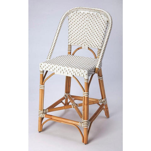 Butler Solstice White & Tan Rattan Counter Stool