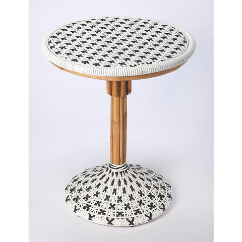 Butler Tenor White & Black Rattan Bistro Table