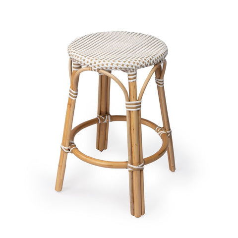 Butler Tobias Beige & White Rattan Counter Stool