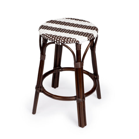 Butler Tobias Dark Brown & White Rattan Counter Stool