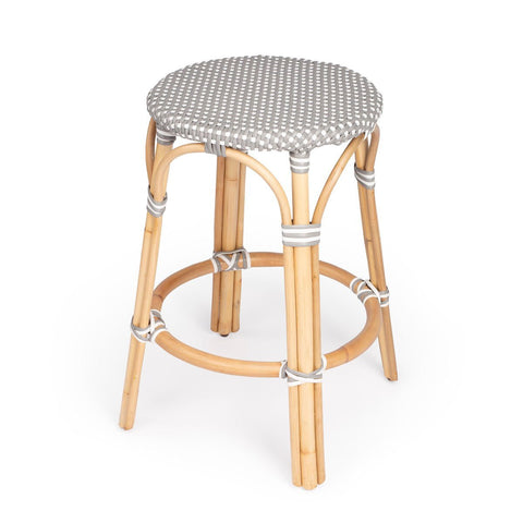 Butler Tobias Gray & White Rattan Counter Stool