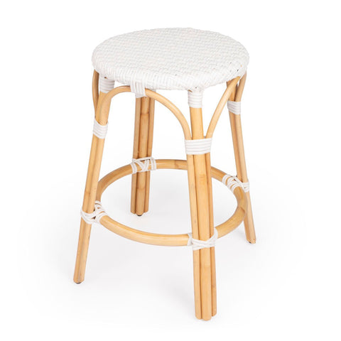 Butler Tobias White Rattan Counter Stool