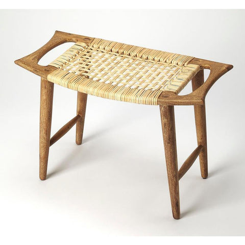 Butler Tristan Natural Wood & Rattan Stool