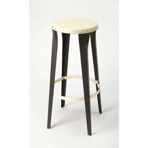 Butler Ulrich Black & White Backless Barstool