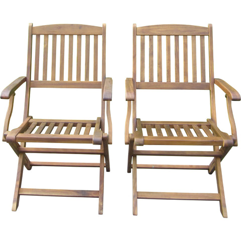 Camden Isle Sutton Acacia Folding Chairs (Set of 2)