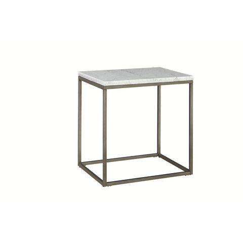 Casana Alana Rectangular End Table with White Marble Top