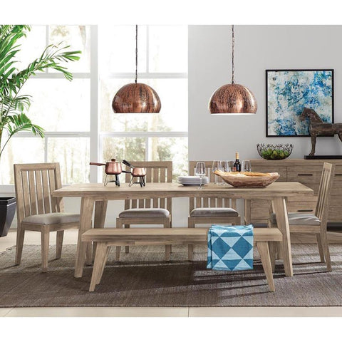 Casana Harbourside 6 Piece Rectangular Dining Room Set in Weathered & Oatmeal