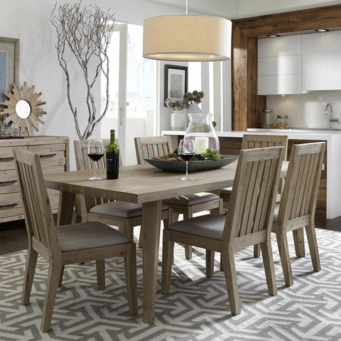 Casana Harbourside 7 Piece Rectangular Dining Room Set in Weathered & Oatmeal