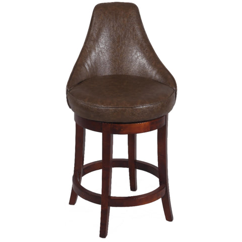 Chintaly 0290 Swivel Solid Birch Stool In Brown