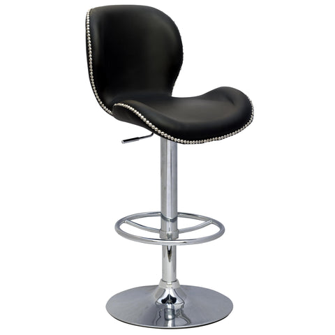 Chintaly 0315 Studded Pneumatic Gas Lift Height Swivel Stool In Black