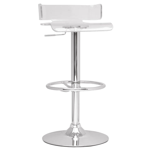 Chintaly 0325 Pneumatic Gas Lift Adjustable Height Swivel Stool In Clear Acrylic