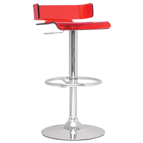 Chintaly 0325 Pneumatic Gas Lift Adjustable Height Swivel Stool In Red Acrylic
