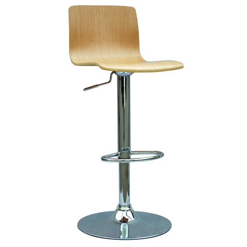 Chintaly 0353 Bent Wood Pneumatic Gas Lift Adjustable Height Swivel Stool In White Oak And Chrome