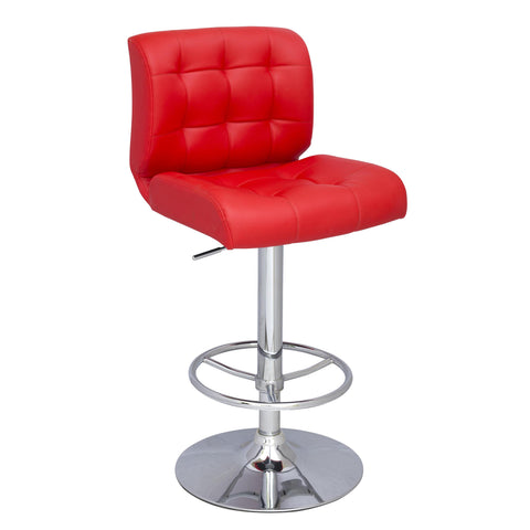 Chintaly 0361 Stitched Seat And Back Pneumatic Stool In Red