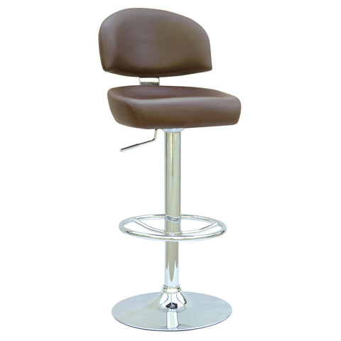 Chintaly 0362 Pneumatic Gas Lift Adjustable Height Swivel Stool In Brown