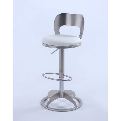 Chintaly 0408 Oval Metal-Back Adjustable Height Stool in Brushed Nickel