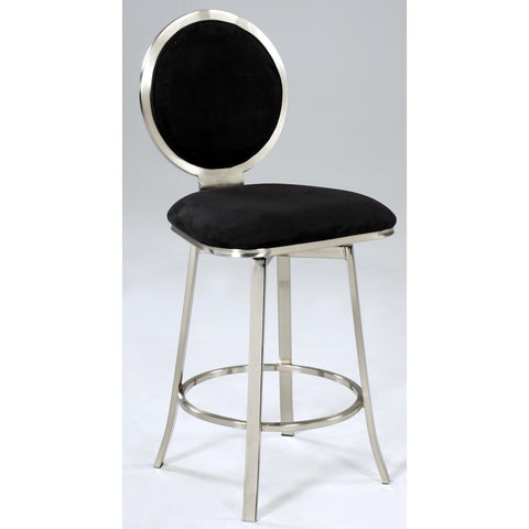 Chintaly 0459 Upholstered Round Back Memory Swivel Stool In Black